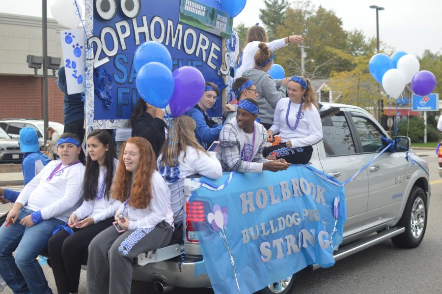 The sophomore class drive down the parades route with their finally completed float