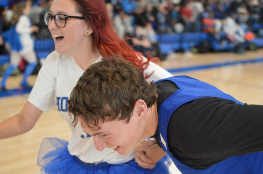 Caitlyn Mann and Aiden Kelly compete in the pep rally