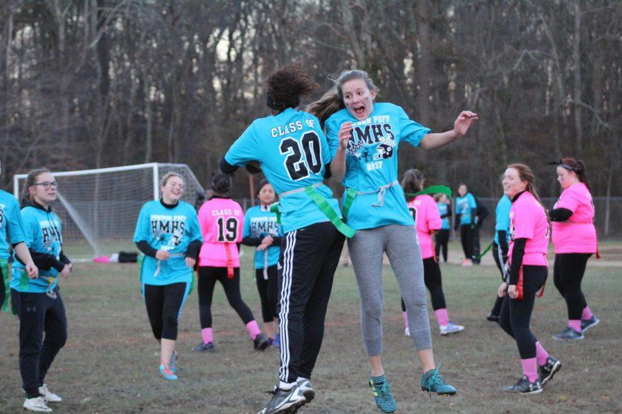 Riley Cochran and Kashly Reyes celebrate a score