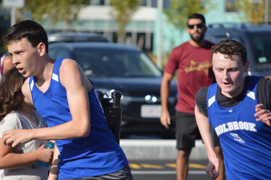 Aiden Haney and Aiden Kelly head for the finish line
