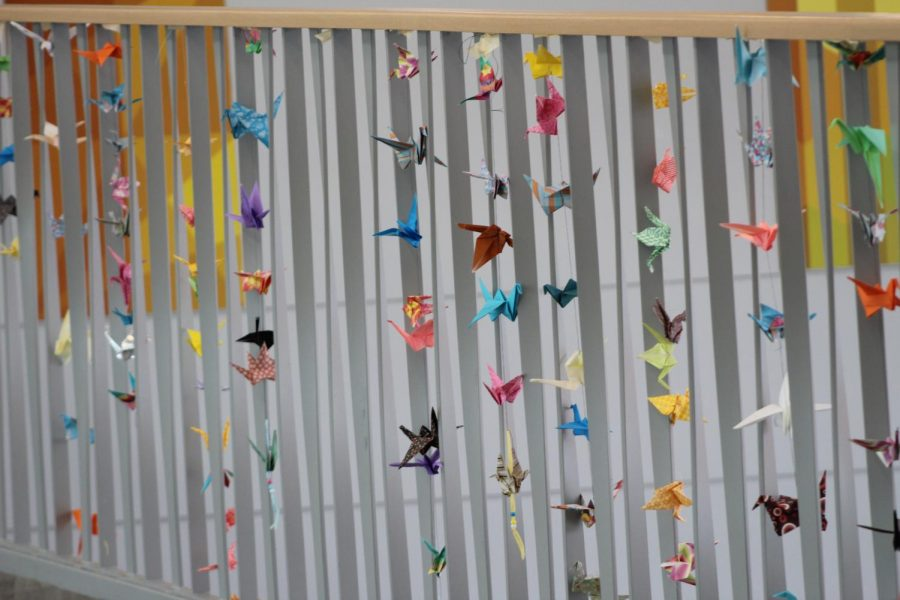 Swans were hung up above the steam commons area, were placed there in favor of peace day.