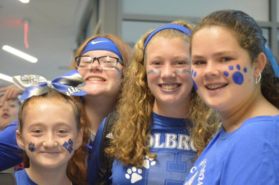 Kylie Harer, Kailey Hixon, Samantha Tucker, and Liberty Farry dresses up for spirit week.