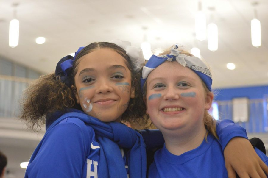 Gracelyn Louisy and Grace Graziano showing their Bulldog Pride by wearing blue and white.