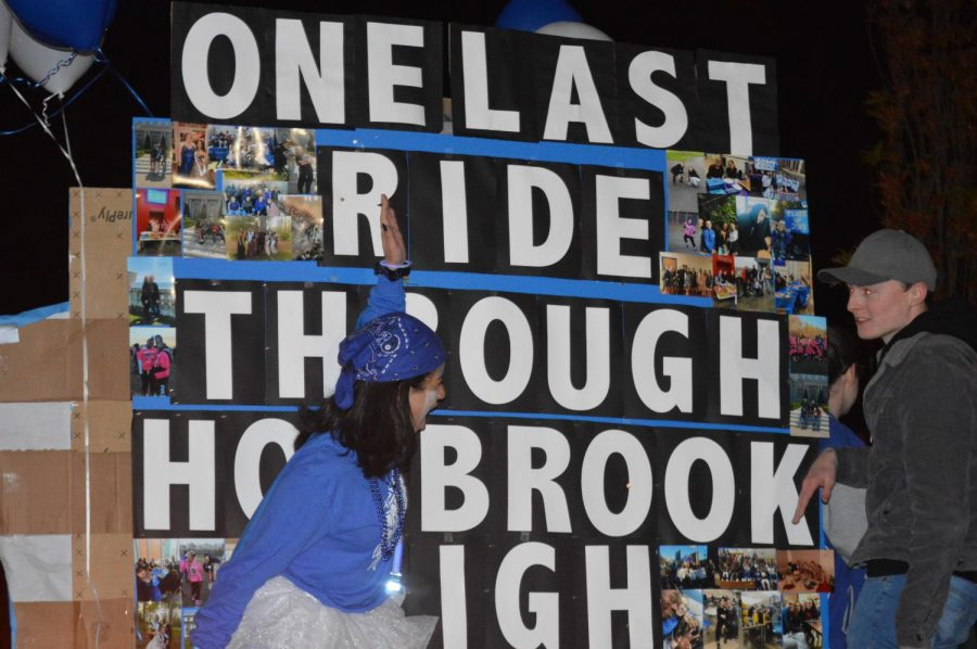 The senior's creative sign idea for the homecoming parade.