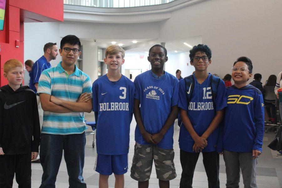 Lendy Joseph, Cameron Campbell, Gavin Moore, Sebastian Velarde, Tyler Sliwka, and Elijah Nguyen showing their bulldog pride.
