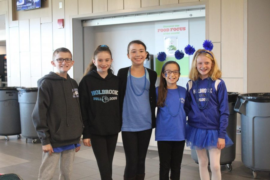 A group of sixth graders dressed for Fanatic Bulldog Fan Friday.