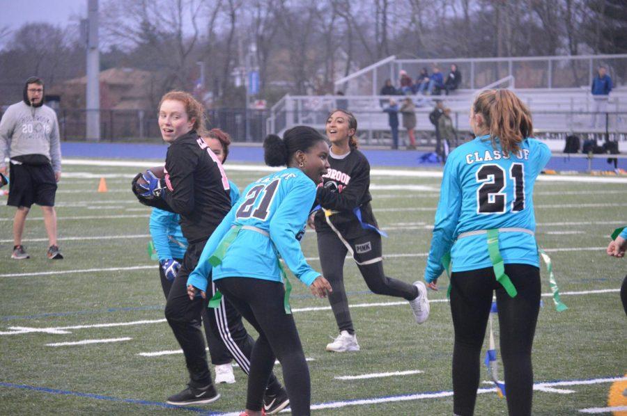 Katelin Andrews runs the ball against the sophomores.