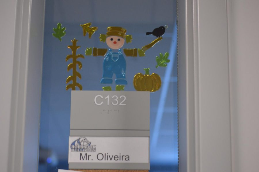 Mr. Oliveira's room label has been changed due to his absence from the school.