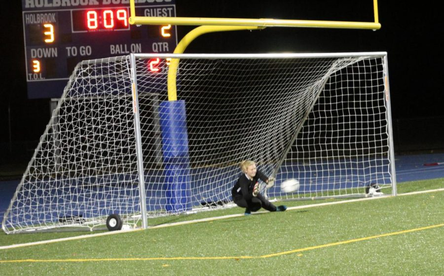 Goal keeper Skylar Gagnon makes a save on a penalty kick in the second half