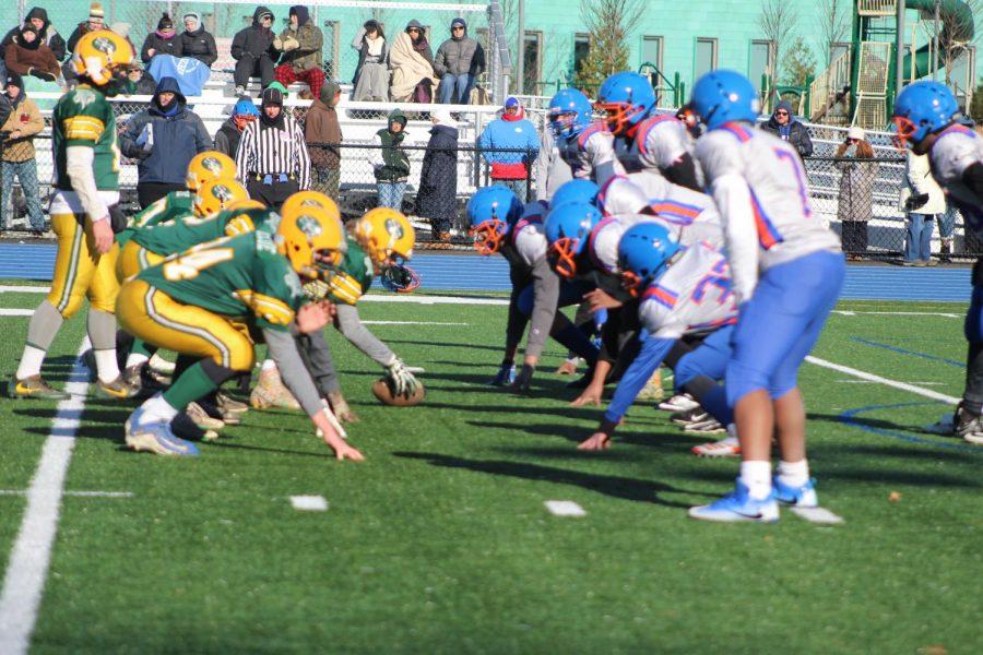Both teams line up