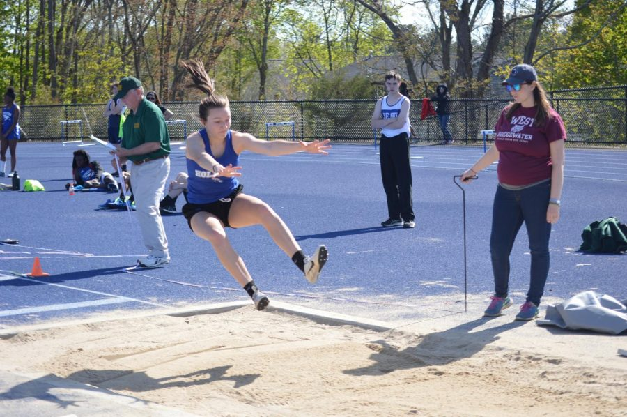 Lucy Ambroult is the league champion in long jump, jumping a team record 16-4.75
