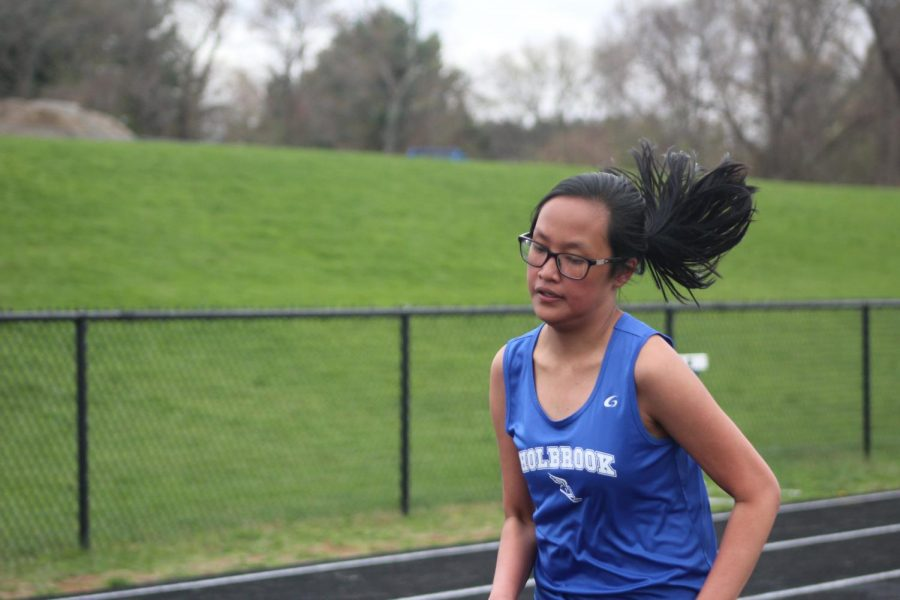 Shannon Esperon took first place against Bishop Connolly in the mile