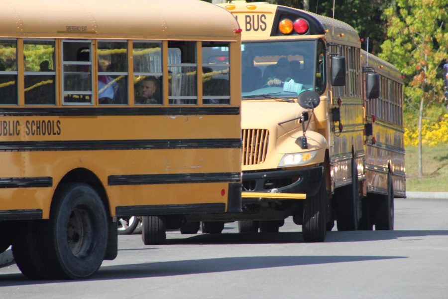 School buses waiting to leave
