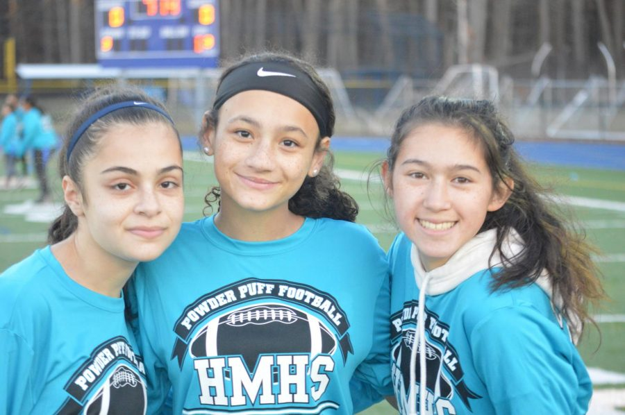 Sophomores, Manal Shamesedine, Tiana Docanto, and Marissa Todd, on the sideline.