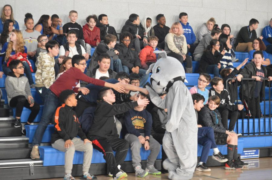 Students receive high-fives from the bulldog
