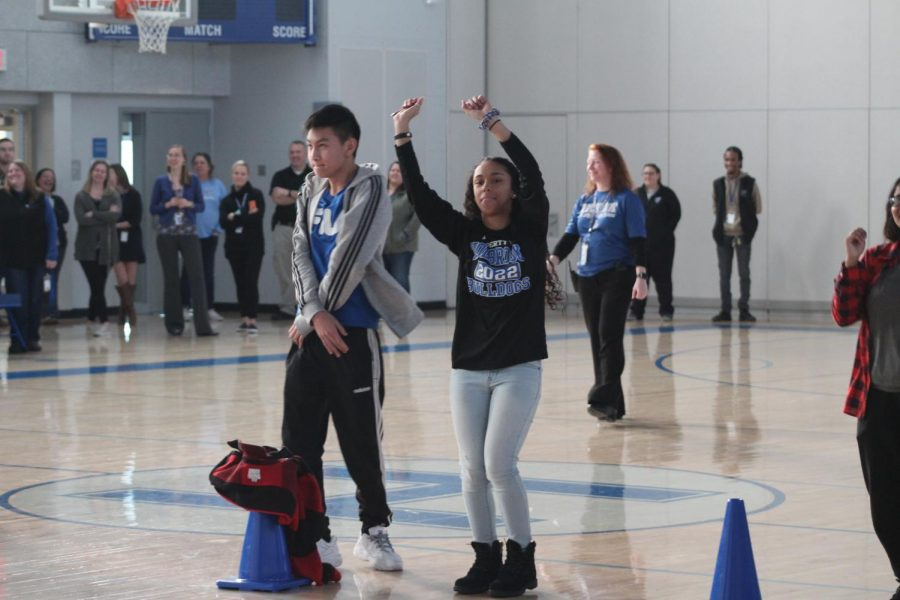 Vincent Tran and Dalice Rodriguez celebrate with a dance.