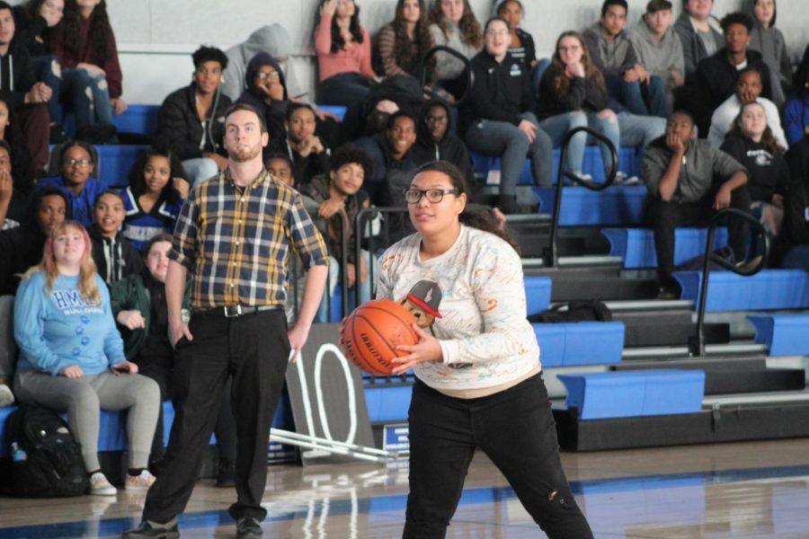 Tatianna DePina gets ready to shoot the ball.