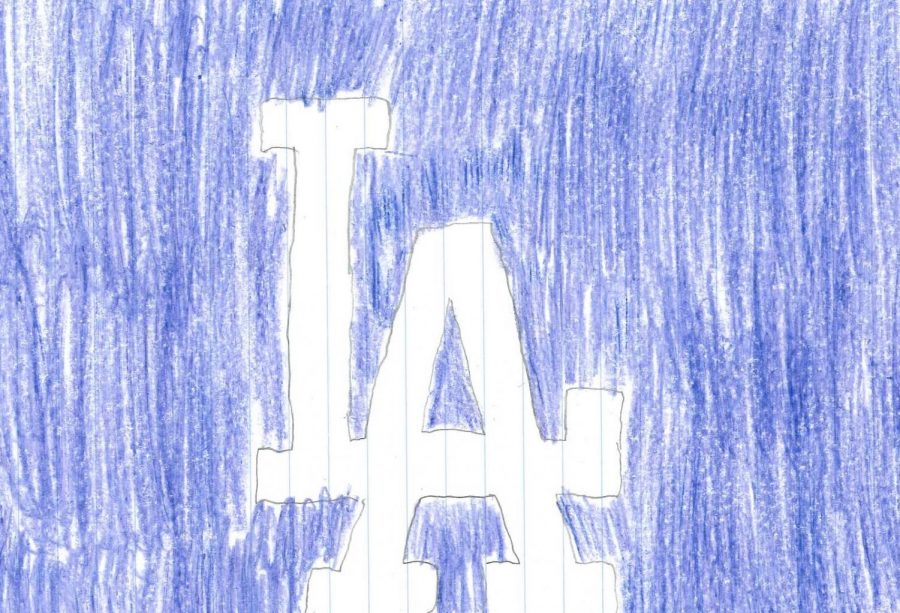The logo of Mookie Betts' new team, the Dodgers