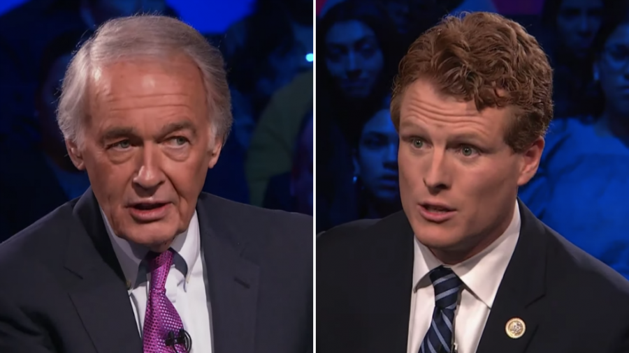 Incumbent Senator Ed Markey on the left and challenger Joe Kennedy on the right