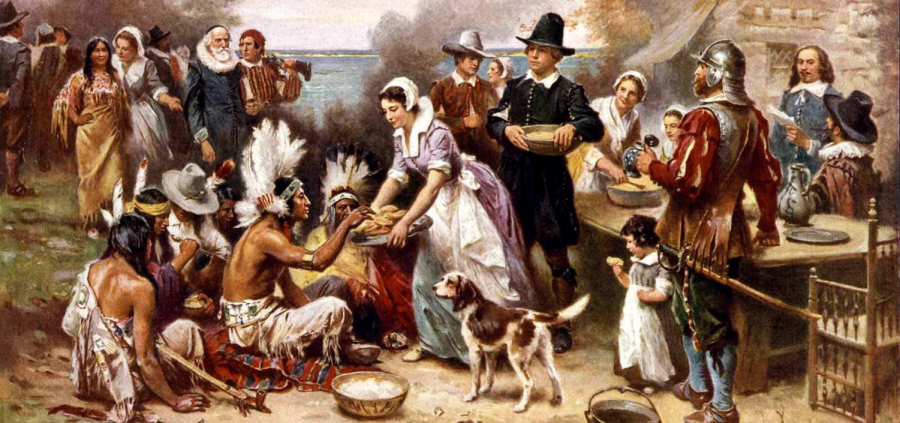 The First Thanksgiving, 1621 by Jean Leon Gerome Ferris