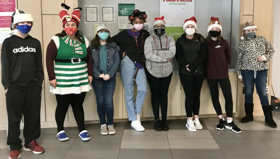Crazy Hat Day!  Students:  Zack-grey and black Santa hat Shailagh- normal hat Nyah Baker-Homemade with ornaments Ayla Baptista- Santa hat with naughty or nice Molly Chiacca- Santa hat Ally Johnson-Reindeer hat Sophee Bellow-Glitter Santa hat