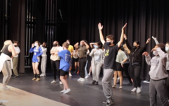 The HMHS theater program rehearsing for their production of All Together Now!